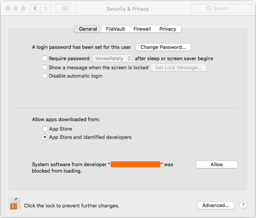 Screenshot of Security & Privacy settings in General tab preferences.
