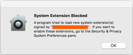 Screenshot of System Extension Blocked.