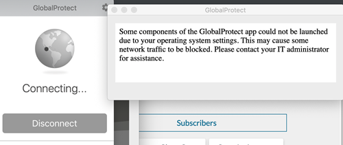 Screenshot of GlobalProtect status with message indicating that some network traffic has been blocked.
